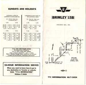 15 Brimley timetable, page 1, May 15, 1960